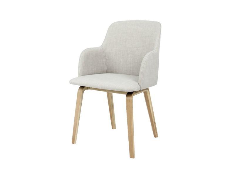 Jídelní židle Mary - Jídelní křesílko (dub/látka šedá)