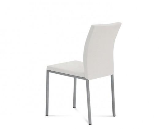 Jídelní židle Miro - Jídelní židle (saténový hliník, eko kůže bílá)