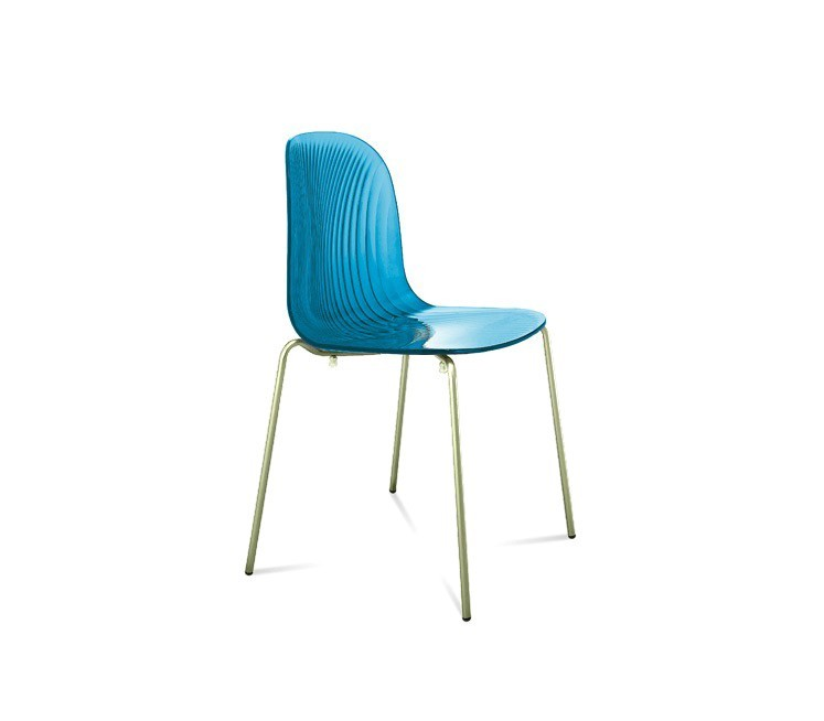 Jídelní židle Playa (chromovaná ocel, světle modrá)