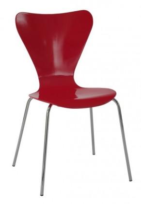 Jídelní židle Robin(chrom/překližka červená (lesk))