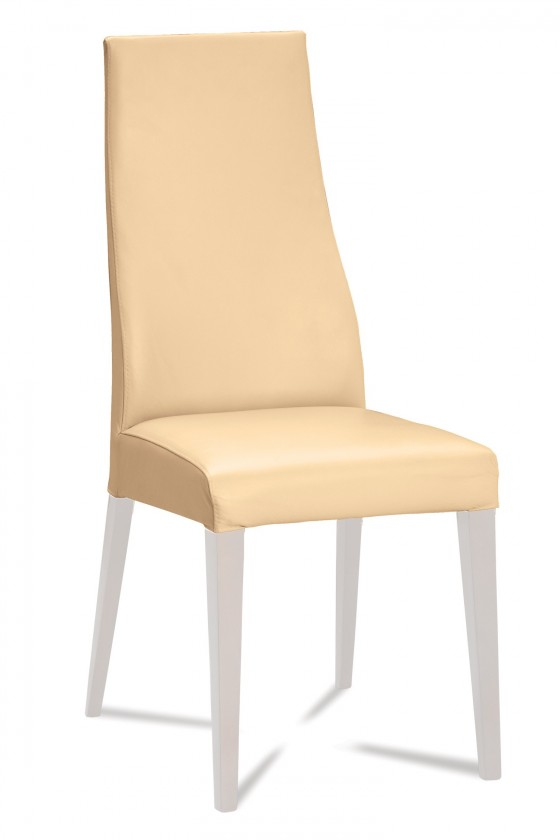 Jídelní židle Semora (bílá mat/eko kůže kaiman slonová kost)