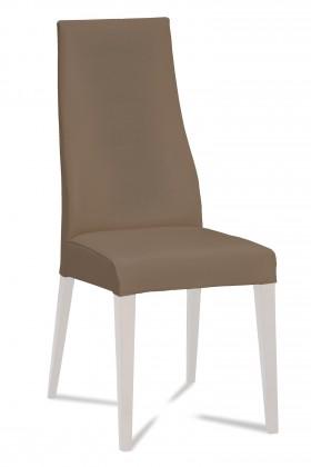 Jídelní židle Semora (bílá mat/látka carabu hnědá)