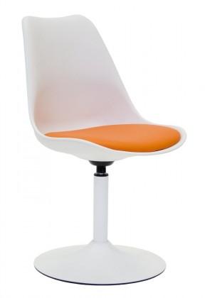 Jídelní židle Tequila - Jídelní židle (bílá, eko kůže oranžová)