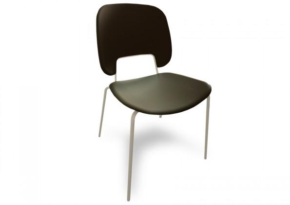 Jídelní židle Traffic - Jídelní židle (lak bílý matný, eko kůže černá)