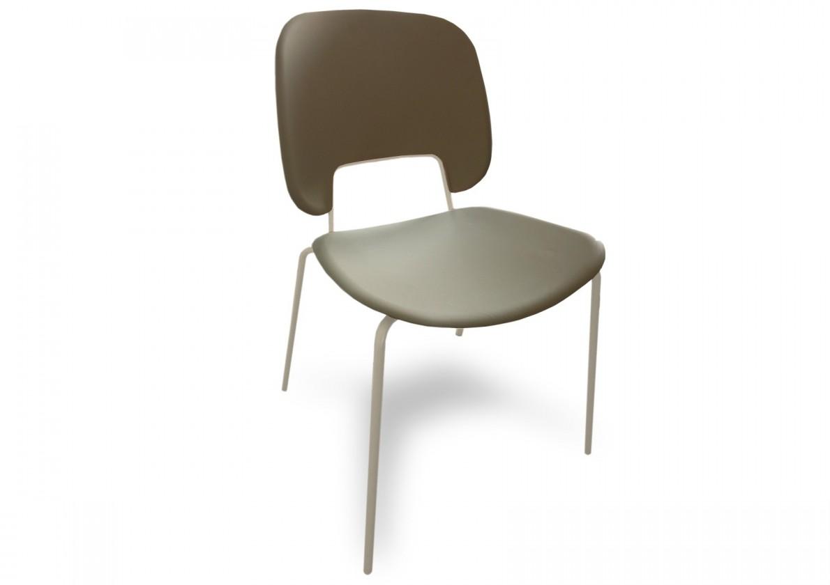 Jídelní židle Traffic - Jídelní židle (lak bílý matný, eko kůže taupe)