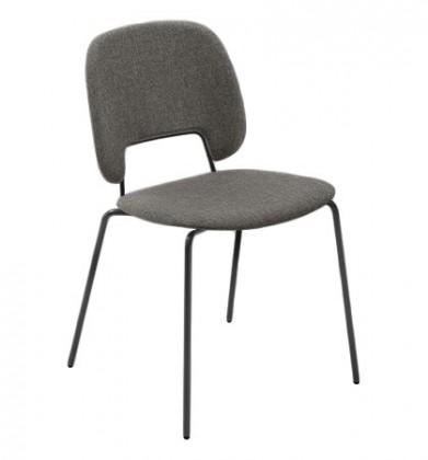Jídelní židle Traffic - Jídelní židle (lak černý matný, látka hnědá)