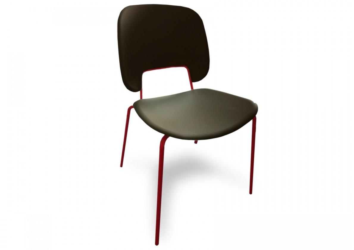 Jídelní židle Traffic - Jídelní židle (lak červený matný, eko kůže černá)