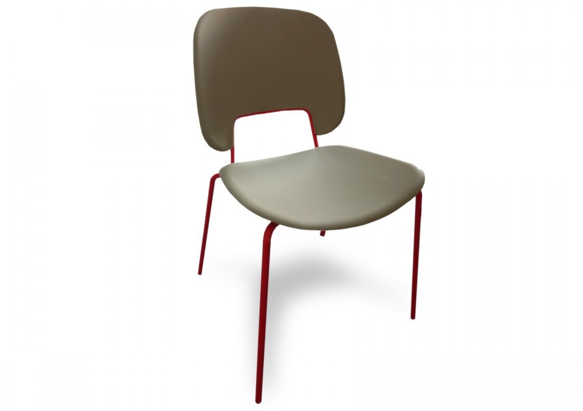 Jídelní židle Traffic - Jídelní židle (lak červený matný, eko kůže taupe)