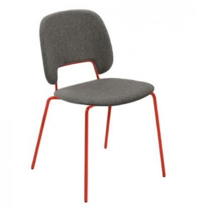 Jídelní židle Traffic - Jídelní židle (lak červený matný, látka hnědá)