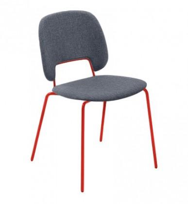 Jídelní židle Traffic - Jídelní židle (lak červený matný, látka jeans)