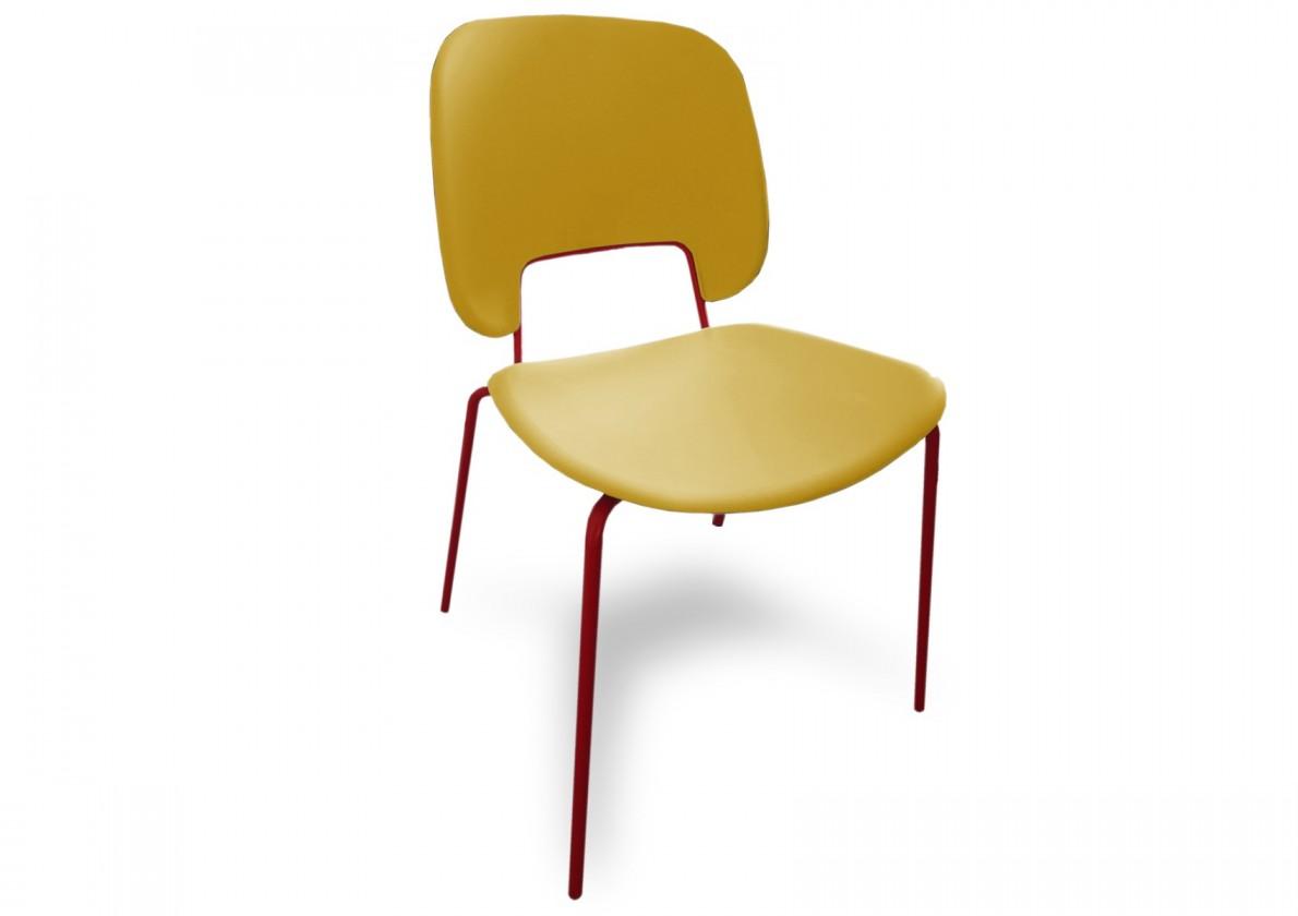 Jídelní židle Traffic - Jídelní židle (lak červený matný, plast hořčicový)