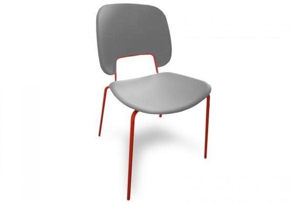 Jídelní židle Traffic - Jídelní židle (lak červený matný, plast sv. šedá)