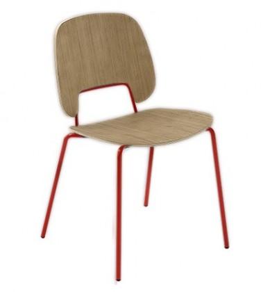Jídelní židle Traffic - Jídelní židle (lak červený matný, světlý dub)