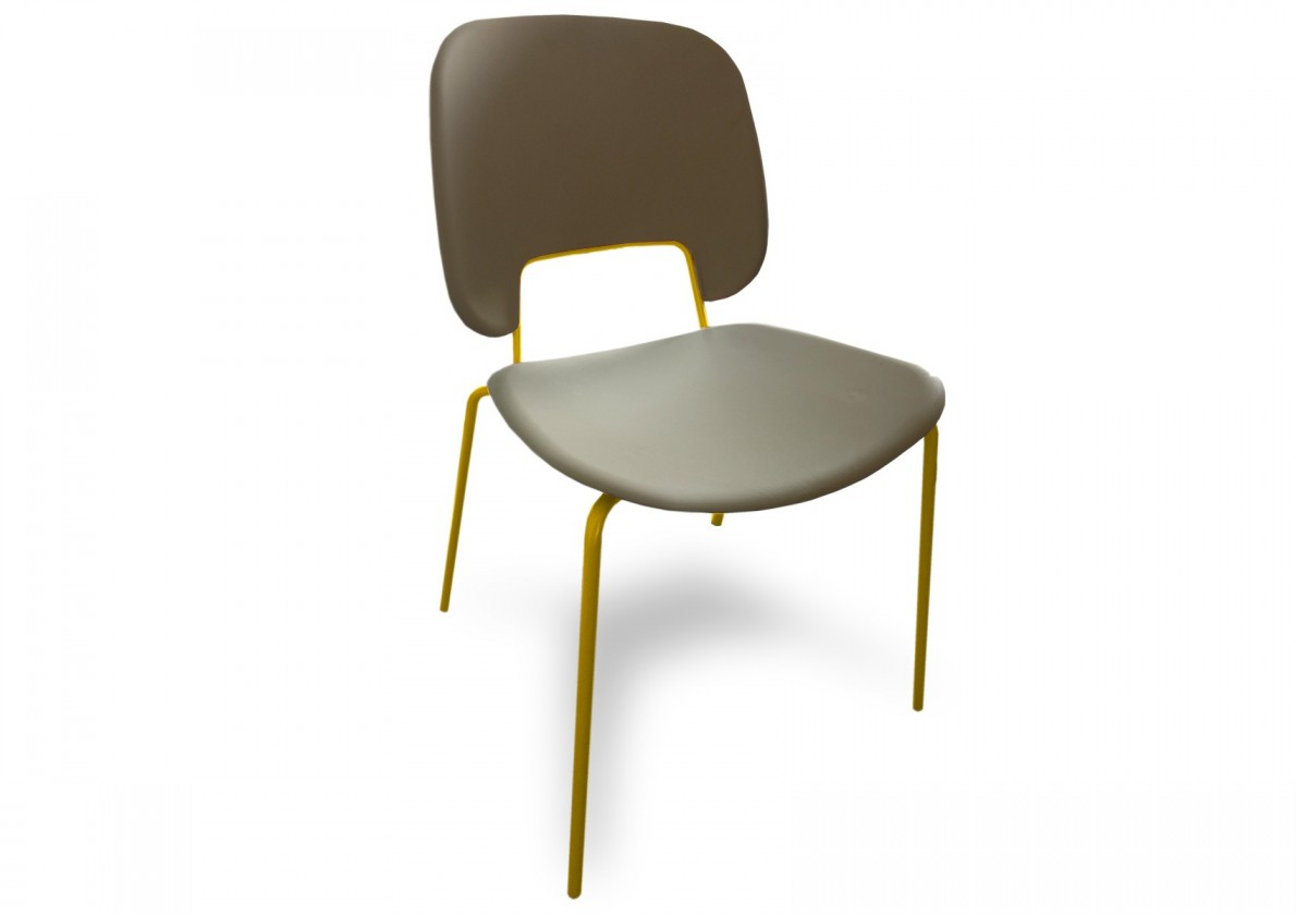 Jídelní židle Traffic - Jídelní židle (lak hořčicový, eko kůže taupe)