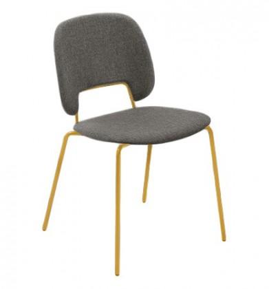 Jídelní židle Traffic - Jídelní židle (lak hořčicový, látka hnědá)