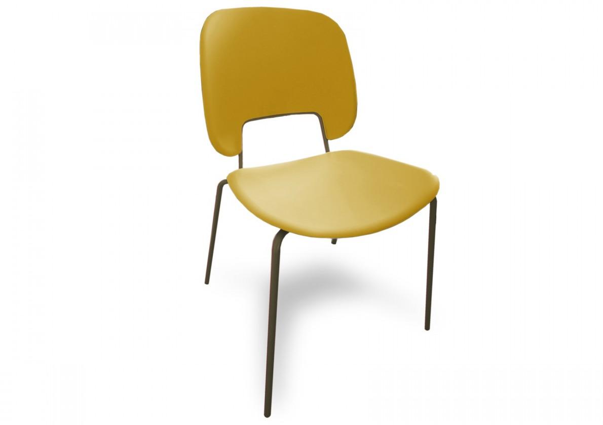 Jídelní židle Traffic - Jídelní židle (lak pískový matný, plast hořčicový)