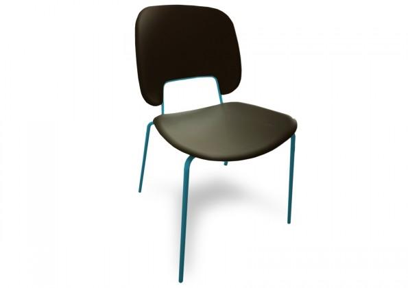 Jídelní židle Traffic - Jídelní židle (lak tyrkysový matný, eko kůže černá)