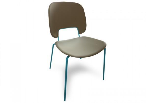 Jídelní židle Traffic - Jídelní židle (lak tyrkysový matný, eko kůže taupe)