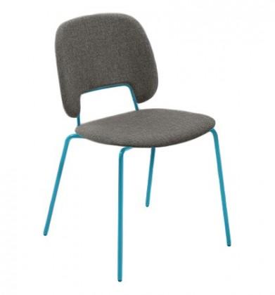 Jídelní židle Traffic - Jídelní židle (lak tyrkysový matný, látka hnědá)
