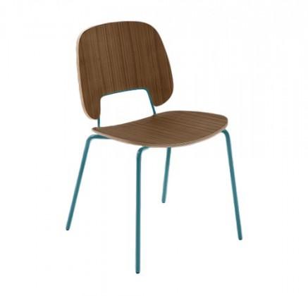 Jídelní židle Traffic - Jídelní židle (lak tyrkysový matný, ořech)