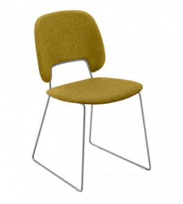 Jídelní židle Traffic-t - Jídelní židle (chromovaná ocel, látka hořčicová)