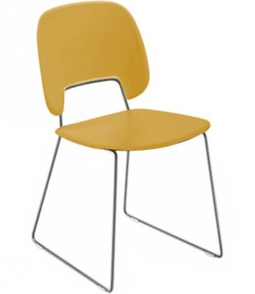 Jídelní židle Traffic-t - Jídelní židle (chromovaná ocel, plast hořčicový)