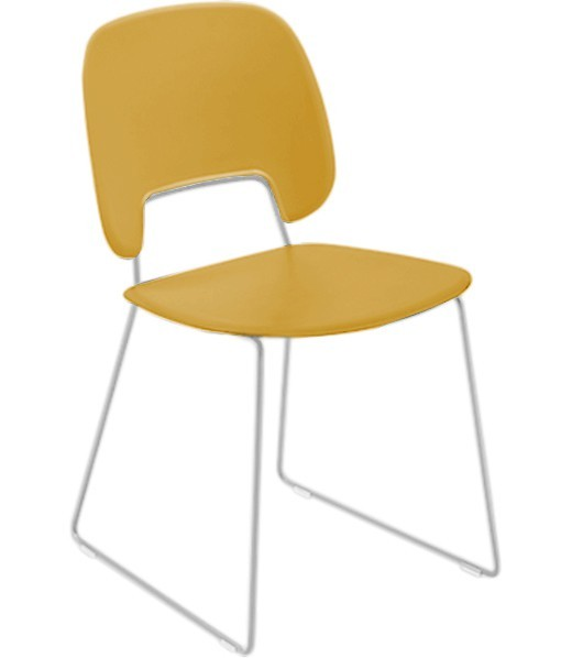 Jídelní židle Traffic-t - Jídelní židle (lak bílý mat, plast hořčicový)