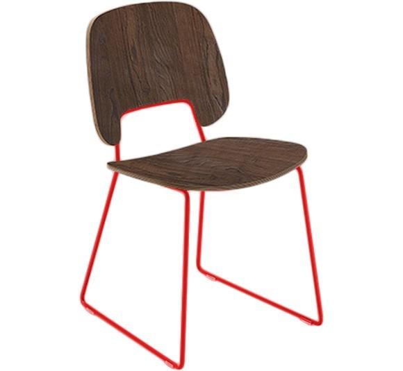 Jídelní židle Traffic-t - Jídelní židle (lak červený mat, čokoládový jasan)