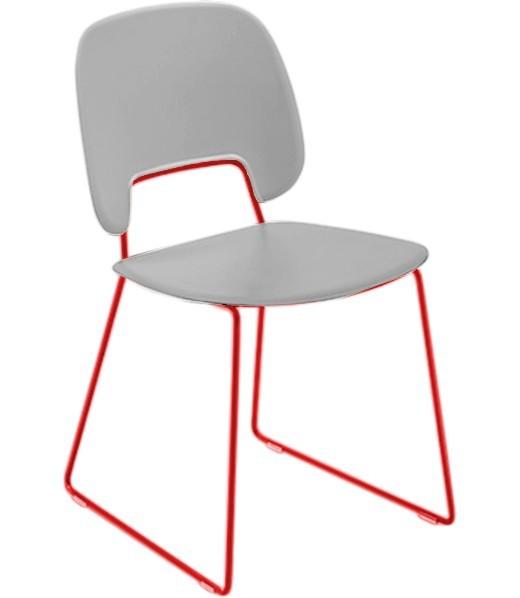Jídelní židle Traffic-t - Jídelní židle (lak červený mat, eko kůže bílá)