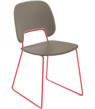 Jídelní židle Traffic-t - Jídelní židle (lak červený mat, eko kůže taupe)