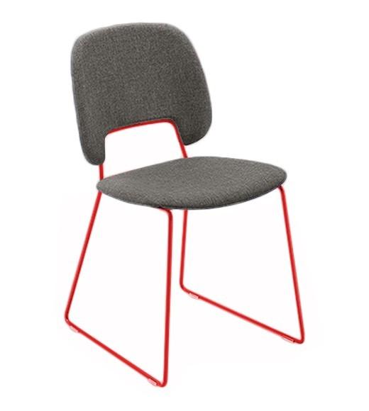 Jídelní židle Traffic-t - Jídelní židle (lak červený mat, látka hnědá)