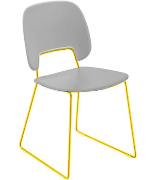Jídelní židle Traffic-t - Jídelní židle (lak hořčicový, eko kůže bílá)