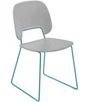 Jídelní židle Traffic-t - Jídelní židle (lak tyrkysový mat, eko kůže bílá)