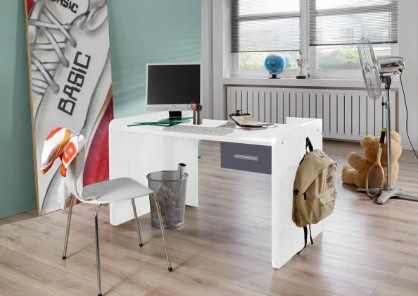 Joker - Pracovní stůl se zásuvkou (bílá, antracit)