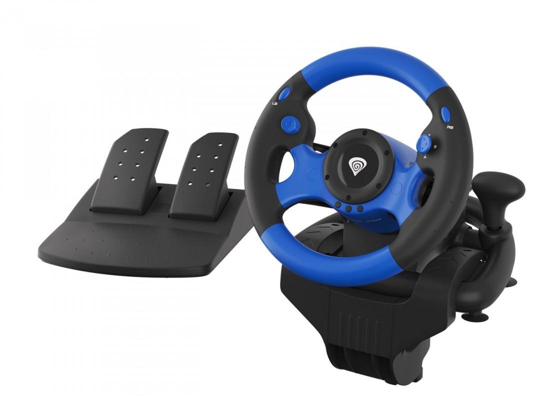 Joysticky Herní volant s řadící pákou a pedály Genesis Seaborg 350, černá