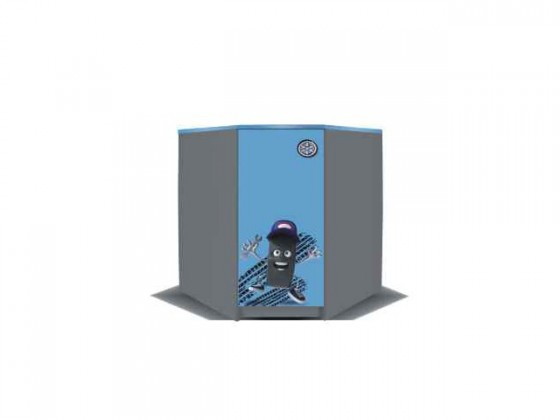Junior mechanik - Komoda rohová (šedá/modrá)