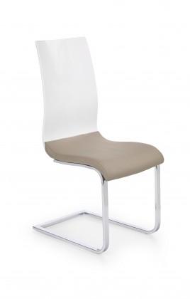 K198 - jídelní židle (eco kůže cappuccino-bílá, chrom)