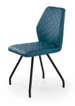 K242 - Jídelní židle, modrá (ocel, eko kůže)