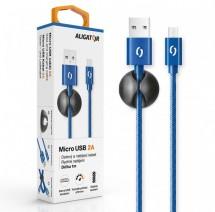 Kabel Aligator Micro USB na USB, 2A, 1m, modrá
