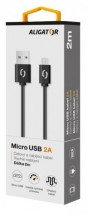 Kabel Aligator Micro USB na USB 2A, 2m, černá