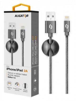 Kabel Aligator Premium Lightning na USB 2A, černá