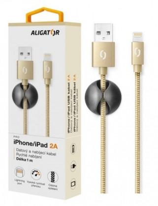 Kabel Aligator Premium Lightning na USB 2A, zlatá