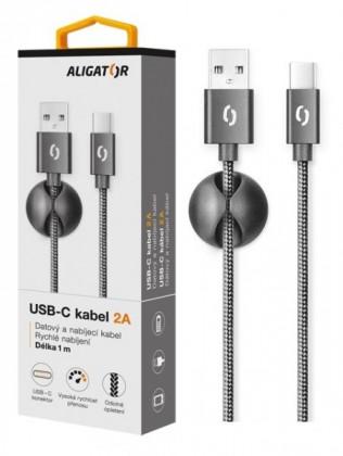 Kabel Aligator Premium USB Typ C na USB 2A, černá