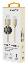Kabel Aligator Premium USB Typ C na USB 2A, zlatá