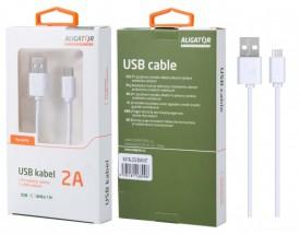 Kabel Aligator USB Typ C na USB, 1m, bílá