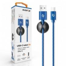 Kabel Aligator USB Typ C na USB, 2A, 1m, modrá