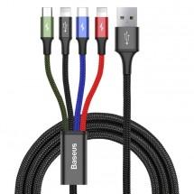 Kabel Baseus, 2xLightning, 4v1, 3,5A, 1,2m, černá