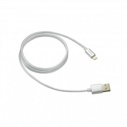 Kabel Canyon Lightning na USB, 1m, pletený, bílá