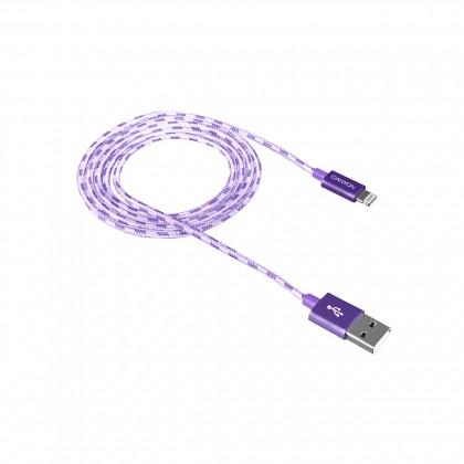 Kabel Canyon Lightning na USB, 1m, pletený, fialová
