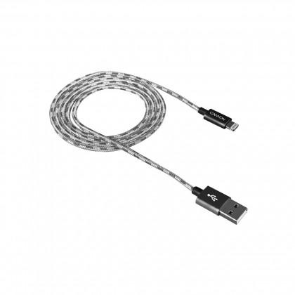Kabel Canyon Lightning na USB, 1m, pletený, tmavě šedá